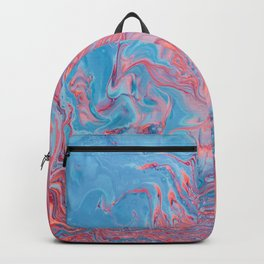 Blue And Red Ink Marbling Abstract Pattern Backpack
