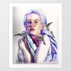 Girl with the Hummingbirds Art Print