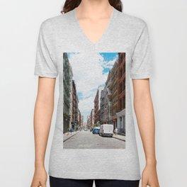 Greene street in Soho, New York Unisex V-Neck