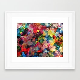 Color Burst - abstract iridescent painting in yellow, red, blue, pink and green Framed Art Print
