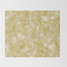 forest floor gold ivory Throw Blanket
