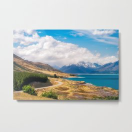 Spectacular winding road in Mount Cook National Park in New Zealand Metal Print
