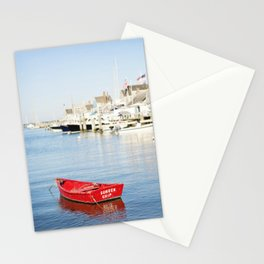 Vibrant Red Boat in Nantucket Harbor Stationery Cards