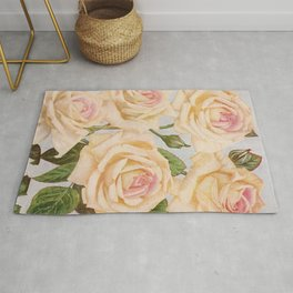 Vintage White Rose Painting (1920) Rug