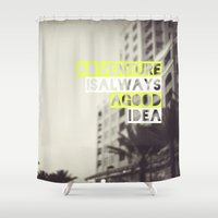 adventure Shower Curtains featuring Adventure by Tina Crespo