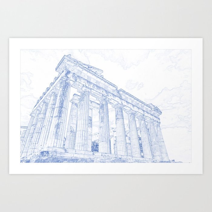 Blueprint drawing of greece palace parthenon iconic ruins art print blueprint drawing of greece palace parthenon iconic ruins art print malvernweather Images
