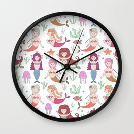 Cute girly pink coral floral little mermaid pattern Wall Clock