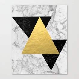 Marble Tri Black & Gold - gold foil, gold, marble, black and white, trendy, luxe, gold phone Canvas Print