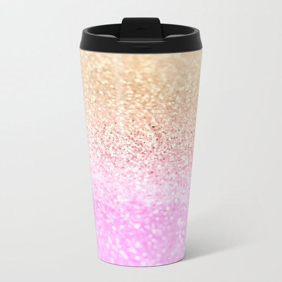 GOLD PINK GLITTER by Monika Strigel Metal Travel Mug