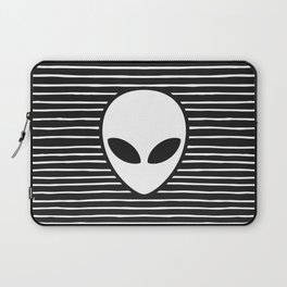 Alien on Black and White stripes Laptop Sleeve