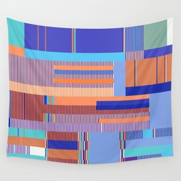 Scandinavian Moon (Blue Salmon Colours) Wall Tapestry