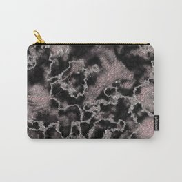 Black & Metallic Blush Pink Glitter Marble Texture Carry-All Pouch