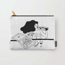 girl drinking wine eating pizza Carry-All Pouch
