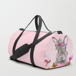Bunny with flowers Duffle Bag