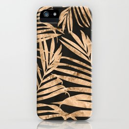 black and gold palms iPhone Case