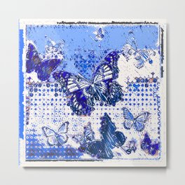 MODERN ART DESIGN of  FRENCH BLUE MONARCH BUTTERFLIES Metal Print