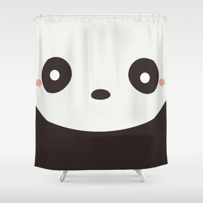 Kawaii Cute Panda Bear Shower Curtain By Wordsberry
