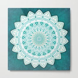White Mandala on Blue Green Distressed Background with Detail and Textured Metal Print