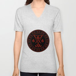 666- the number of the beast with the sigil of Lucifer symbol Unisex V-Neck