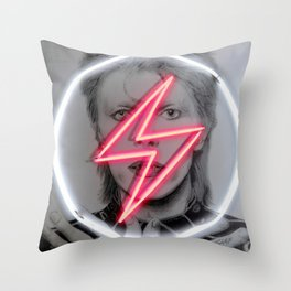 tunder neon bowie Throw Pillow