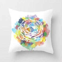Stencilled Watercolour Rose Throw Pillow