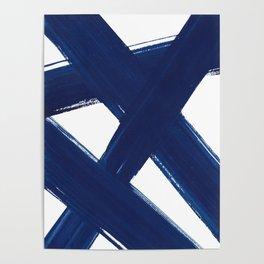Indigo Abstract Brush Strokes | No. 3 Poster