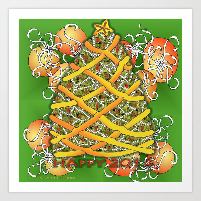 Christmas Tree For 2014: Happy Christmas Tree For 2014 Art Print By