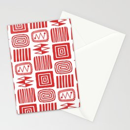 Retro Mid Century Modern Check Pattern 240 Red Stationery Cards