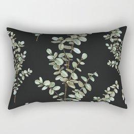 Baby Blue Eucalyptus Watercolor Painting on Charcoal Rectangular Pillow
