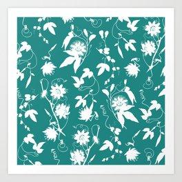 Passion Garden. Elegant Teal White Floral Pattern Art Print