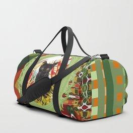 Black Cat jungle Frame pattern Duffle Bag
