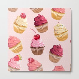 Retro Pink Cupcakes Metal Print