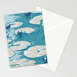 Monets Waterlily Pattern — Teal Stationery Cards