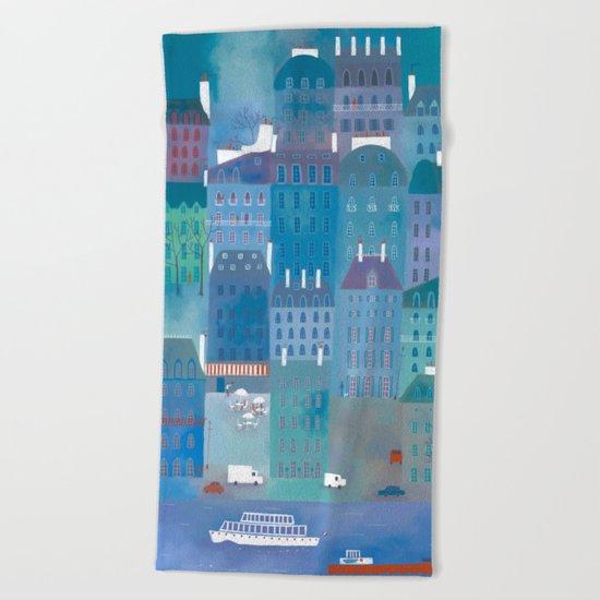 Paris Blues Beach Towel