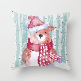 Winter Woodland Friends Cute Bear Snowy Forest Illustration Throw Pillow