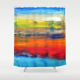 Horizon Blue Orange Red Abstract Art Shower Curtain