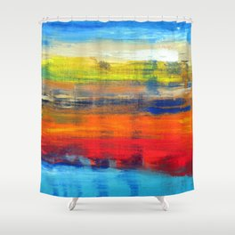 Horizon Blue Orange Red Abstract Art Shower Curtain