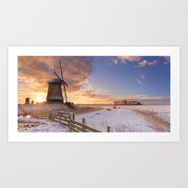 II - Traditional Dutch windmills in winter at sunrise Art Print