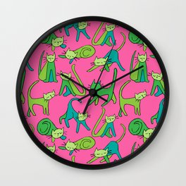 kitty kat (green on pink) Wall Clock