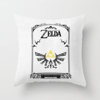 the legend of zelda Throw Pillows featuring Zelda legend - Hyrulian Emblem by Art & Be
