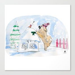 Winter Wonderland Tibbie in a Knitted Hat Enjoying the Snowy Day Canvas Print