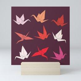 Japanese Origami paper cranes sketch, symbol of happiness, luck and longevity Mini Art Print