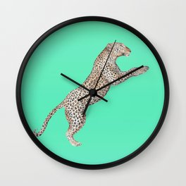 Leaping Leopard - Watercolor Wall Clock