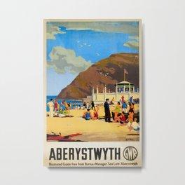 Aberystwyth Vintage Travel Poster Metal Print