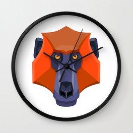 Baboon Head Flat Icon Wall Clock