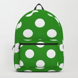 Slimy green - green - White Polka Dots - Pois Pattern Backpack