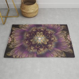 Bohemian Ruffled Feathers & Lavender Gypsy Flowers Rug