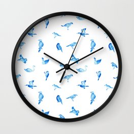 Blue Birds Pattern Wall Clock