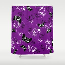 Video Game Purple Shower Curtain