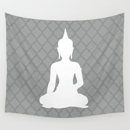 Grey and White Buddha Wall Tapestry